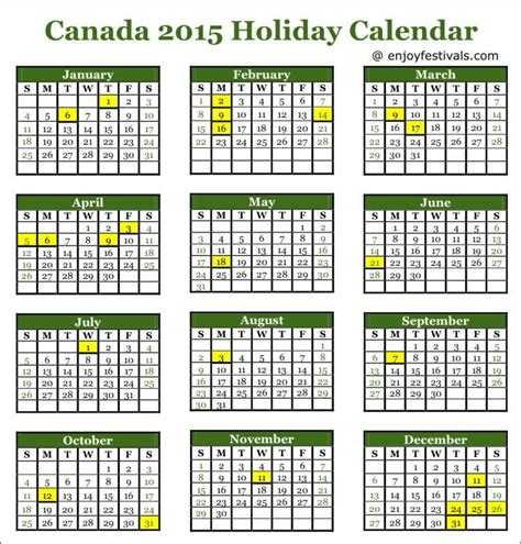 2015 calendar template with canadian holidays printable canadian calendar 2016 with statutory holidays