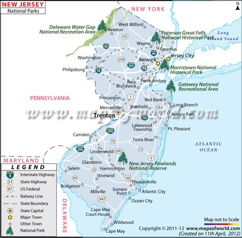 map of new jersey delaware new jersey national parks map