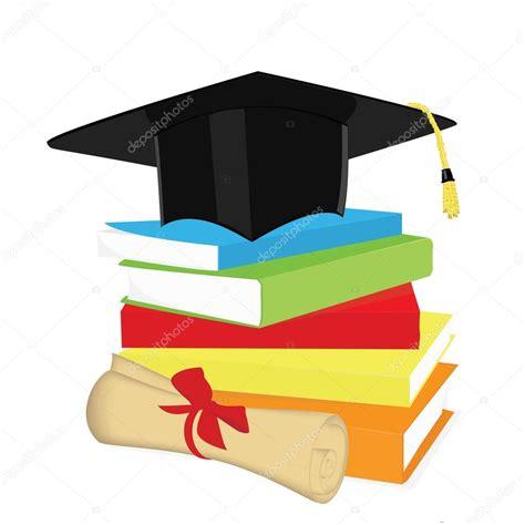 laurea clipart pila di libro cappello di laurea e diploma vettoriali
