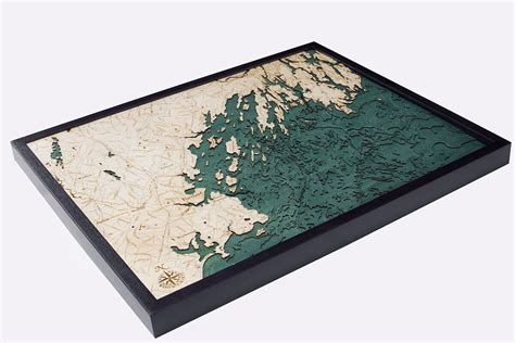 map  portland maine area nautical wood wall art