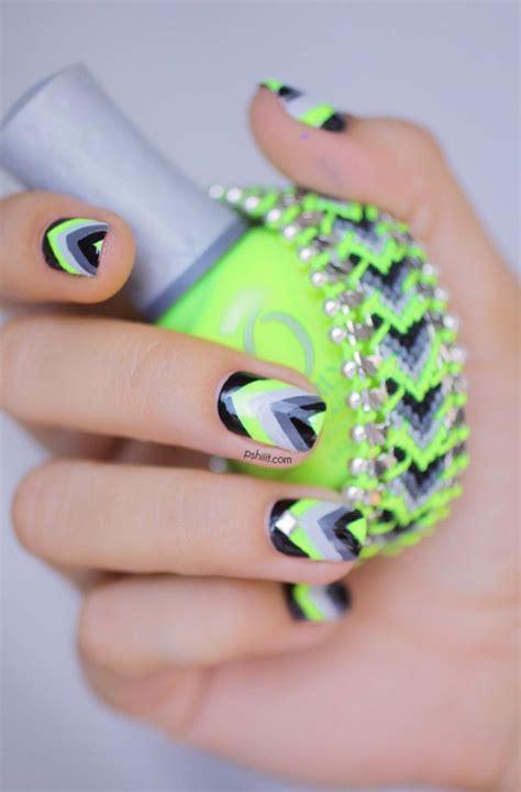 neon pattern nails nail art inspiration full art black chevron neon and