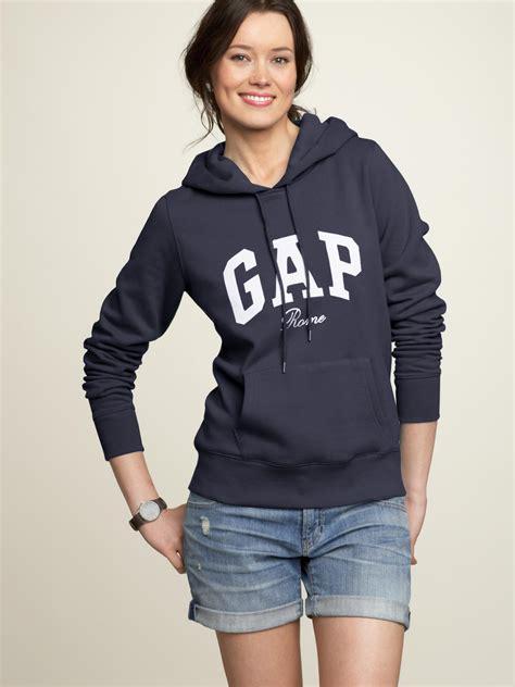 gap rome logo hoodie in blue true indigo lyst