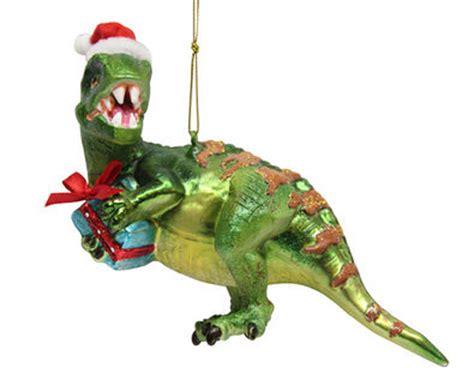 december diamonds glass ornament dinosaur green in