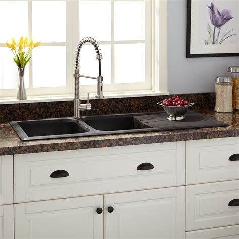 Drop In Sink Kitchen 46 Quot Owensboro Bowl Drop In Granite Composite Sink With Drain Board Black Kitchen