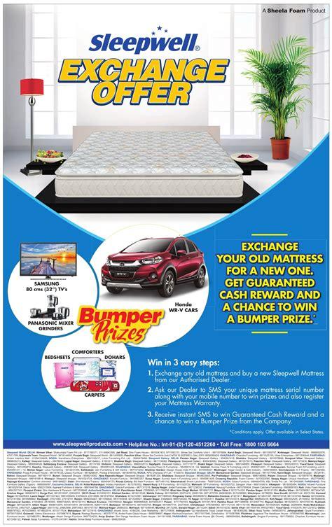 Sleepwell Mattress Delhi by Sleepwell Mattress Exchange Your Mattress For A New