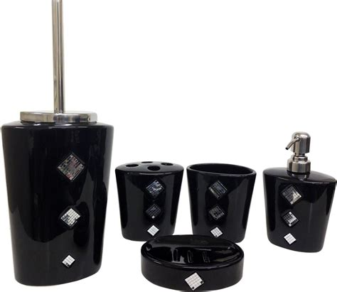 Bathroom Accessories Black Black Ceramic Bathroom Accessories Diamante Set Sparkle Ebay