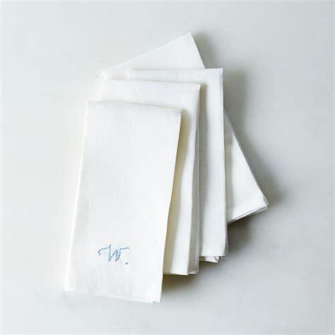 monogrammed linen napkins white linen napkins with monogram option set of 4 on food52