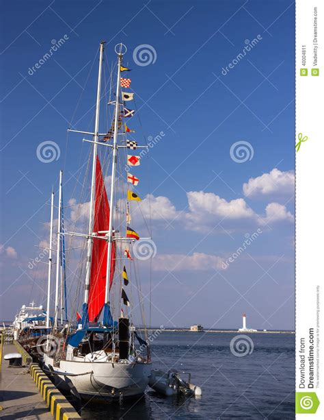 sailing boat flags signal flags on a sailing boat stock photo image 40004811
