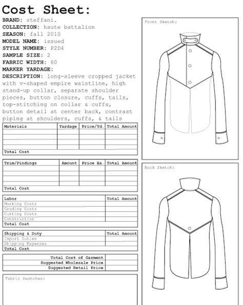 design for manufacturing worksheet garment costing sheet google search spec sheets