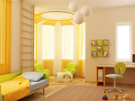 modern yellow interior exterior plan bedroom idea in yellow and green