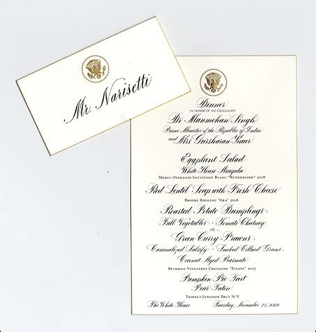 Dinner Placement Cards reliable source what does a real white house state