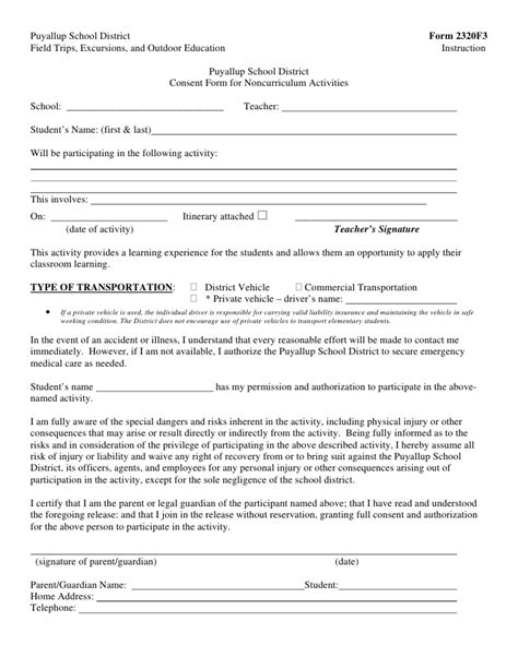 Parents Consent Letter Sle For Driving Field Trip Forms