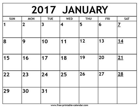 January 2017 calendar printable templates