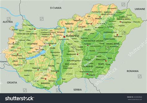 physical map of hungary high detailed hungary physical map labeling stock vector
