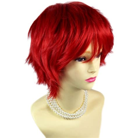 short spikey hairpice wiwigs striking red man s wig short spikey style lady