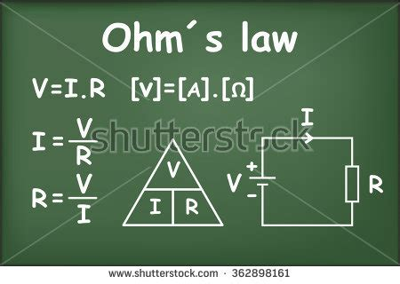 ohms resistors definition definition of ohm s current voltage and resistance in a circuit on chalkboard vector