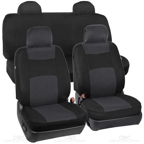 integrated headrest seat covers black charcoal seat cover for car auto suv polyester cloth