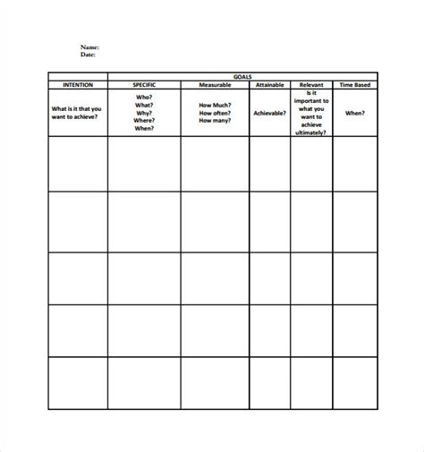 goal sheet templates 12 free pdf documents download