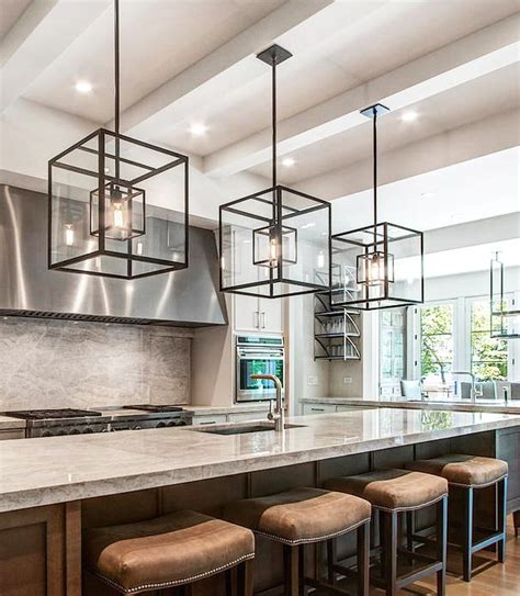 oversized kitchen island cube cage lighting complete with edison bulbs