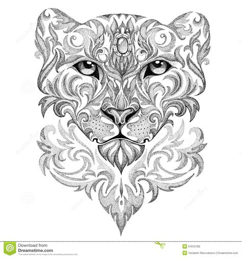 Tattoo Snow Leopard, Panther, Cat, With Patterns And