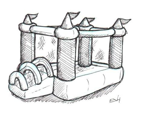 bouncy castle coloring page how to draw bouncy castle