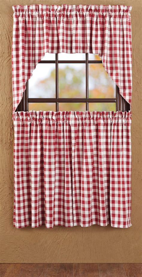 red and white check curtains buffalo red check window tier set curtains country rustic