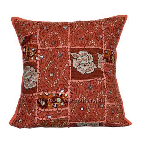 Patchwork Pillow - orange 16x16 patchwork style indoor outdoor accent pillow