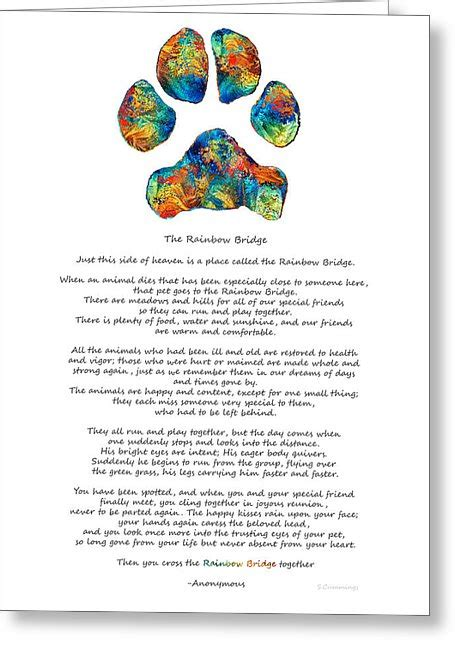 Width Of Shower Curtain Rainbow Bridge Poem With Colorful Paw Print By Sharon