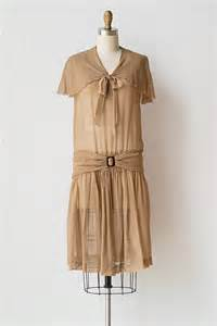 vintage 1920s sheer light brown flapper dress archival