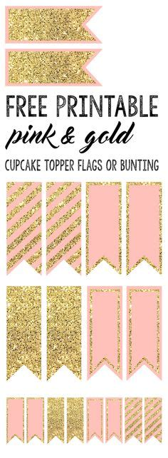 Bunting Flag Bridal Shower Motif Bunga one birthday coral pink gold printable water bottle labels personalized chevron polka