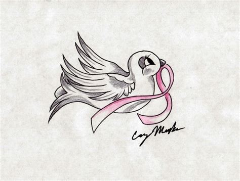bird with breast cancer ribbon tattoos pinterest