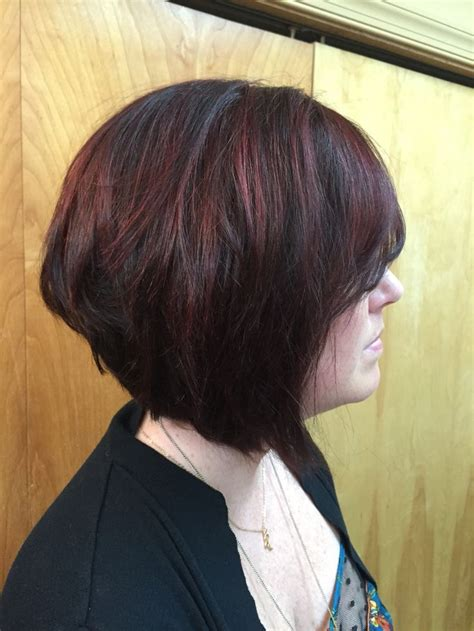 headband inverted bob dark brown base red violet highlights inverted bob