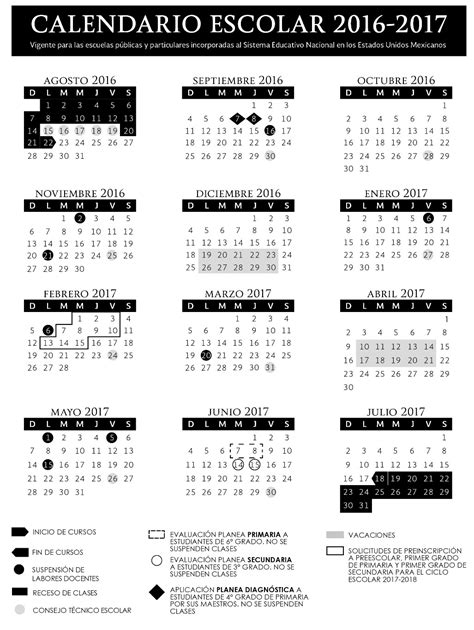 calendario 2016 2017 sep imagen calendario escolar oficial sep 2017 2018