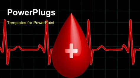 Powerpoint Template A Drop Of Blood With A Heartbeat Line 3611 Blood Ppt Templates Free