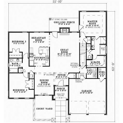 Tuscan Style Floor Plans by Tuscan House Plan 3 Bedrooms 2 Bath 2256 Sq Ft Plan 12 873