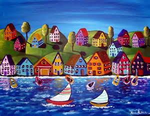 Colorfu Houses Painting colorful shoreline houses sailboats whimsical by