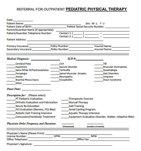 8 Sample Physical Therapy Evaluations Sample Templates