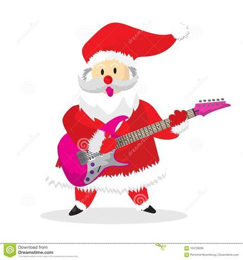 santa happy play rock guitar cartoon stock vector illustration  design rock