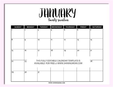 printable and editable monthly calendar calendar
