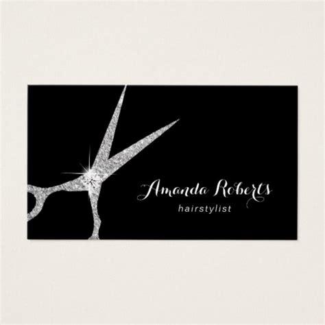 black hair business card template hair stylist modern silver glitter scissor salon business
