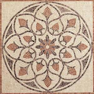 travertine la flora 48 in x 48 in tumbled stone medallion decorative floor and wall tile