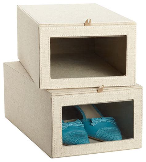 shoes storage box linen drop front shoe box contemporary closet storage