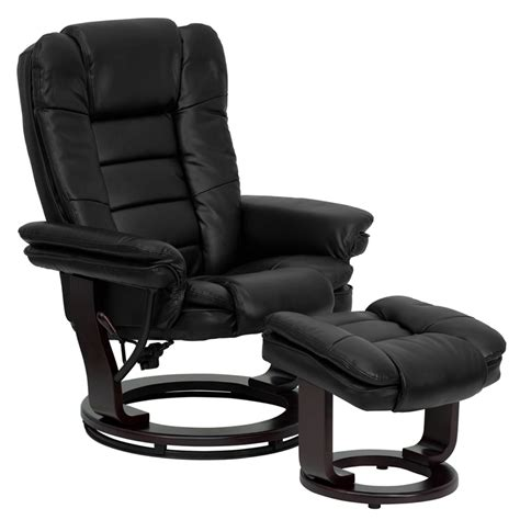 Black Leather Chair With Ottoman Contemporary Black Leather Recliner Chair And Ottoman With Swiveling Mahogany Ebay