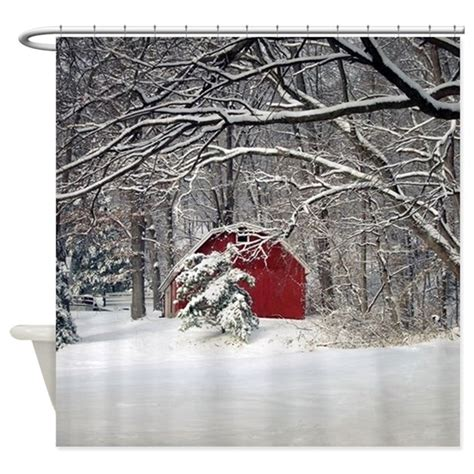 Red Barn in the Snow 2011 Shower Curtain by FrankieCat