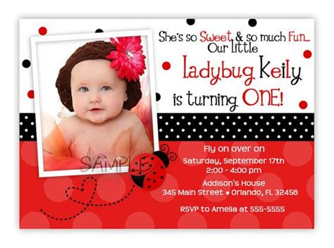 pink or ladybug birthday invitation you print