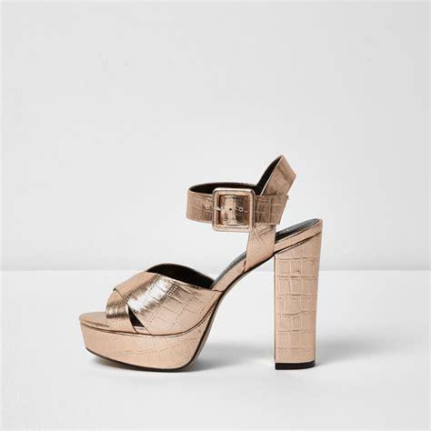 gold sandals wide fit river island gold wide fit platform heel sandals in