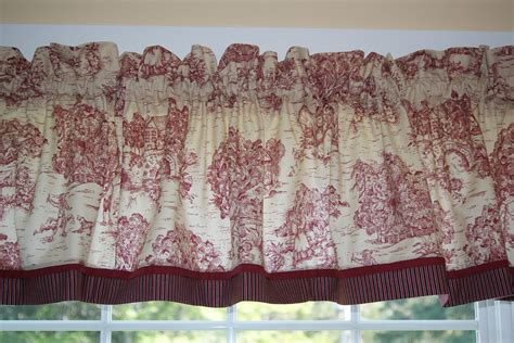 scenic curtains red tan scenic toile valance 17 quot x 81 quot drapery weight can