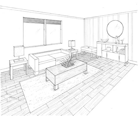 perspective living room drawing interior design by chow at coroflot