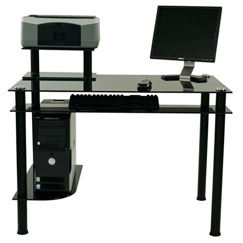 Black Glass Computer Desks Rta Modern Black Glass Computer Desk With Hutch Black Ct 009b