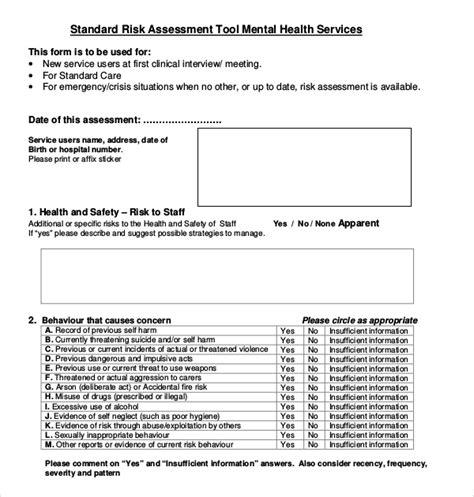 12 Sle Health Risk Assessment Forms Sle Forms Behavioral Health Assessment Template